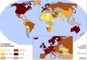 Internetsucht: Die meisten Jugendlichen nutzen in der Schweiz das Internet maßvoll (Karte: Internetnutzung Welt und Europa)