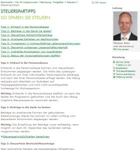 Extrem schlechter Tipp von Thomas Kunz, Leiter der Steuerberatung bei der Thurgauer Kantonalbank (Bildschirmfoto:TKB)