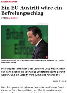Cicero: EU-Austritt Großbritanniens wäre Befreiungsschlag