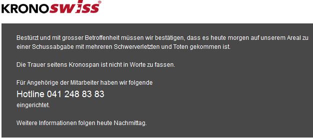 Tödliche Schießerei bei Kronospan in Menznau (Bild: Webpräsenz von Kronoswiss vor dem Zusammenbruch infolge des tragischen Ereignisses)
