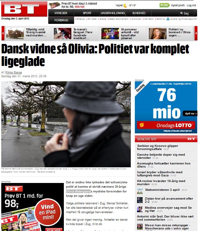 Schwere Vorwürfe in dänischen Medien: Die Kapo Zug (Zuger Polizei) steht im Fall von Olivia Østergaard in Kritik, sie nehme Hinweise nicht ernst (Bildschirmfotoausriß)