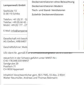 """Schweizer Rechtssitz, Schweizer Kundendienst: Auf das solten Sie achten, denn es ist wichtig, wenn mal """"was ist"""", z. B. eine Reklamation (Bildschirmfotoausriß genommen von Lampenwelt.ch)"""