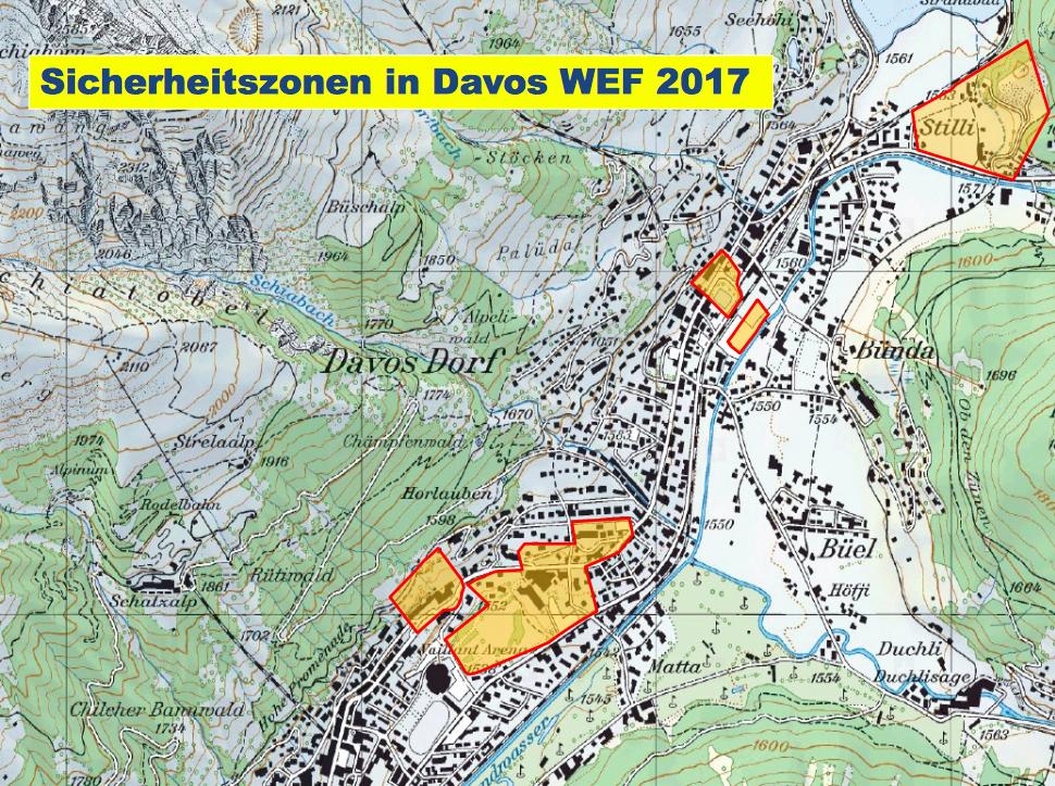 Sicherheitszonen am WEF