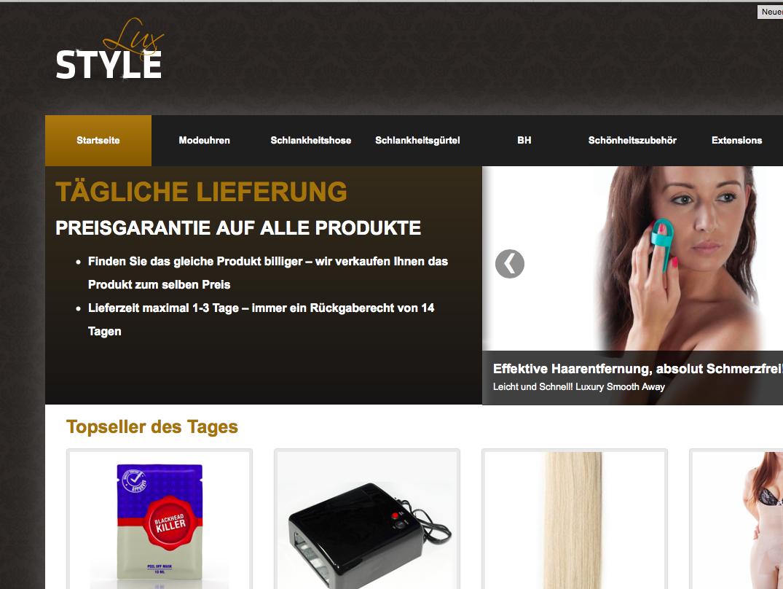 Bildschirmfotoausriß: Stylelux.ch