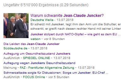 """Deutsche Großmedien scheinen unisono zu glauben, Juncker sei nicht sturzbetrunken. In der Schweiz glaubt das nur das linksalternative Pro-EU-Medium """"Watson""""."""