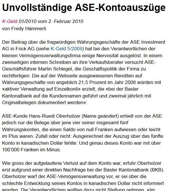 Der K-Tipp berichtete schon 2009 und 2010 über Unregelmäßigkeiten bei ASE Investement AG, die Finma schlief.