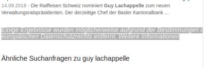 """Bei Google hat jemand die Löschung von Einträgen zu Guy Lachapelle beantragt gemäß dem sogenannten """"Recht auf Vergessen"""", einer EU-Rechtsprechung, die der amerikanische Großkonzern auch in der Schweiz anwendet. Es fragt sich: Was will Lachappelle vergessen?"""