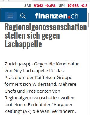 Lachappelle wird sich kaum als Wunschkandidat von Pascel Gantenbein und Pascal Gisel halten können.