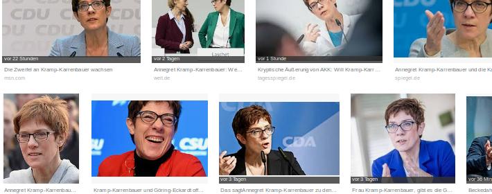 Google-Suche nach Kramp-Karrenbauer: Würden vor Wahlen dann auch einige dieser Fotos verschwinden? (abgesehen von denen, die schon gelöscht wurden...)