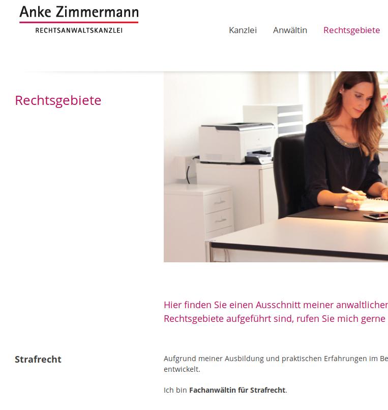 Beispiel einer Anwältin für Strafrecht in Deutschland (Quelle Bildausriß: https://anke-zimmermann.de/)