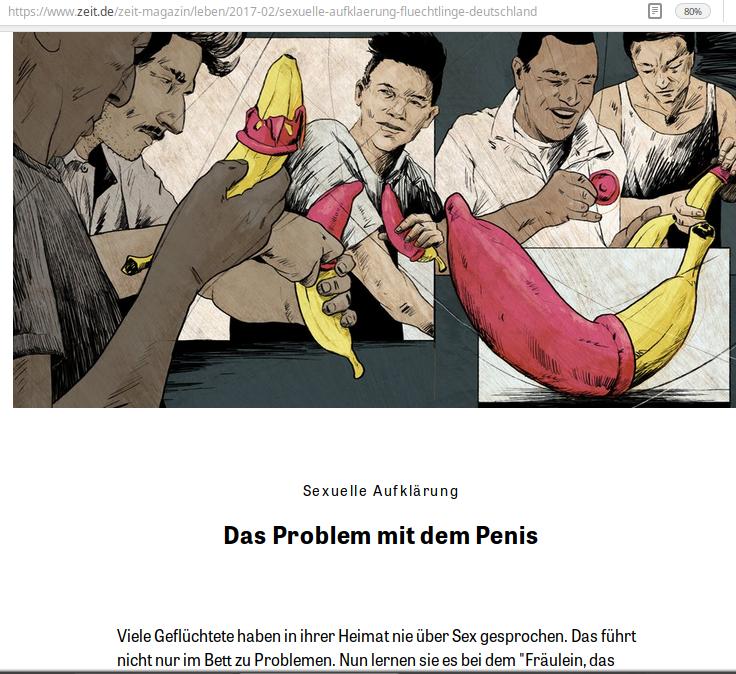 """Marie Sophie Hingst will bei Flüchtlingen als Sexualaufklärerin aktiv gewesen sein. Das deutsche Medium Zeit-Magazin brachte dazu eine große Geschichte. unter dem Titel """"Das Problem mit dem Penis."""" Auch das ist frei erfunden."""