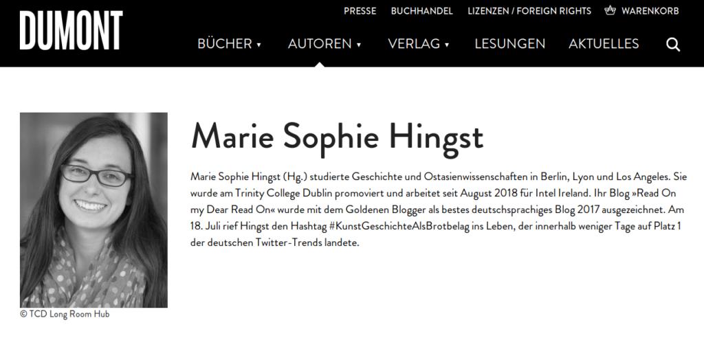 Hochstaplerin und Kostümjüdin Marie Sophie Hingst als Autorin beim Dumont-Verlag.