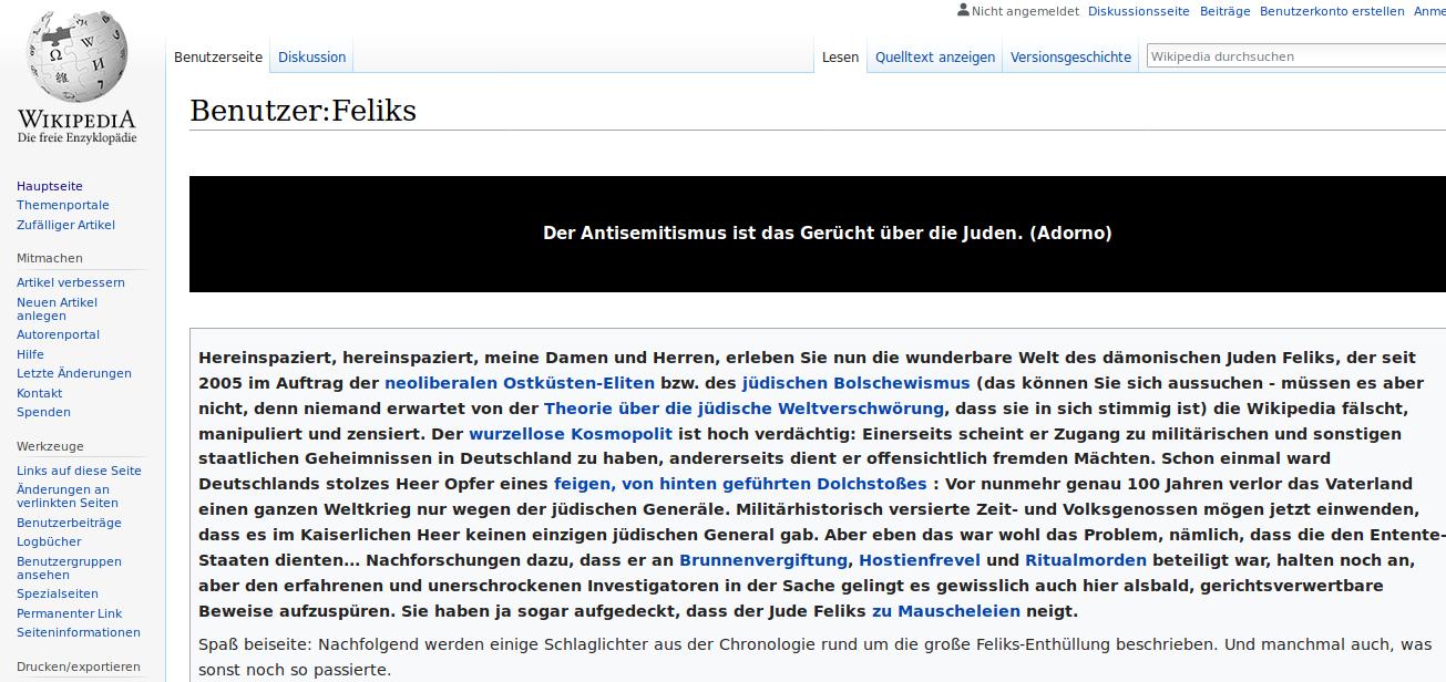 Jörg Egerer alias Feliks alias Jörg Matthias Claudius Grünewald kokettiert aggressiv seinem Judentum seit der konvertierte.