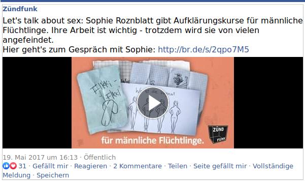 Auch der BR, der bayerische Rundfunk, war von der Sexualaufklärung für Flüchtlinge durch Marie Sophie Hingst alias Sophie Roznblatt ganz begeistert.