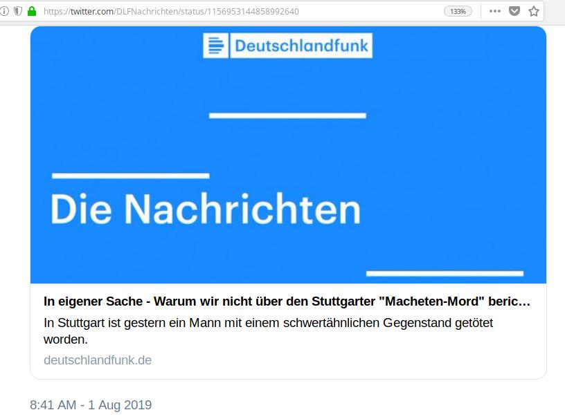 Der Link zur Stellungnahme 'In eigener Sache' zur Nicht-Berichterstattung des Deutschlandfunks im Falle des Machentenmords von Stuttgart funktioniert nicht mehr
