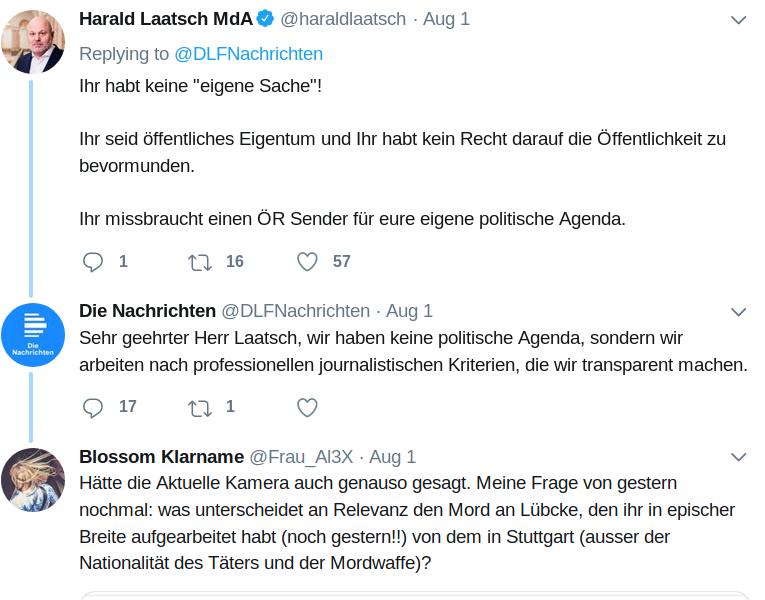 Der Deutschlandfunk erlebte aufgrund seiner abermaligen Nicht-Berichterstattung im Fall vom Machetenmord in Stuttgart einen sogenannten 'shitstorm' (zu Deutsch 'Scheiße-Sturm')