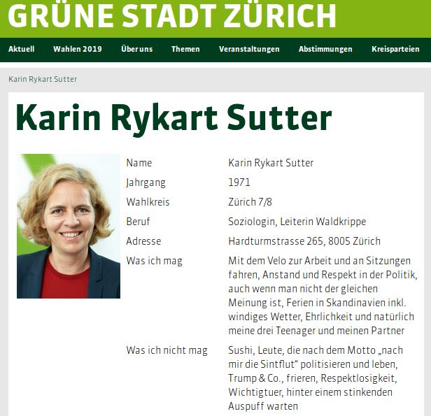 Karin Rykart-Sutter, Sicherheitsvorsteherin und in Leiterin der Grünen Stadt Zürich wollte die Demonstration verbietenKarin Rykart-Sutter, Sicherheitsvorsteherin und in Leiterin der Grünen Stadt Zürich wollte die Demonstration verbieten