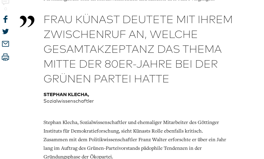 Weiterer Ausriß aus dem Welt-Artikel auf welchen in sozialen Medien bezug genommen wurde zu Künasts politischer Pädophilie-Vergangenheit.